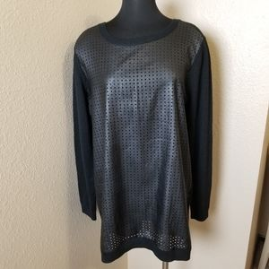 New Halogen Faux Leather Merino Wool Top XL